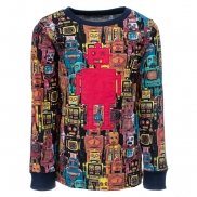 t-shirt tougher robots navy