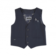 vest tailored linen navy